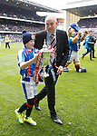 Rangers manager Mark Warburton with mascot Lee Welsh