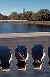 Rowing, Single rower seen from the Weeks Bridge, Harvard University, Cambridge, Charles River, Massachusetts, New England, USA,.