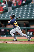 Burlington Bees left fielder Josh Merrigan (24) follows through on a swing during a game against the Great Lakes Loons on May 4, 2017 at Dow Diamond in Midland, Michigan.  Great Lakes defeated Burlington 2-1.  (Mike Janes/Four Seam Images)