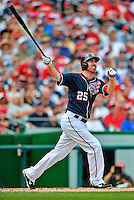 3 September 2012: Washington Nationals first baseman Adam LaRoche watches his home run fly over the right field fence during the second inning against the Chicago Cubs at Nationals Park in Washington, DC. The Nationals edged out the visiting Cubs 2-1, in the first game of heir 4-game series. Mandatory Credit: Ed Wolfstein Photo