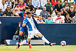 Diego Rico of Deportivo Leganes fights for the ball with Luis Suarez of FC Barcelona during their La Liga match between Deportivo Leganes and FC Barcelona at the Butarque Municipal Stadium on 17 September 2016 in Madrid, Spain. Photo by Diego Gonzalez Souto / Power Sport Images