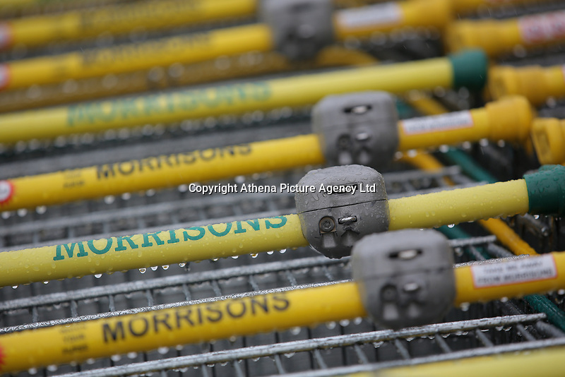 Shopping trolleys at a Morrisons super market