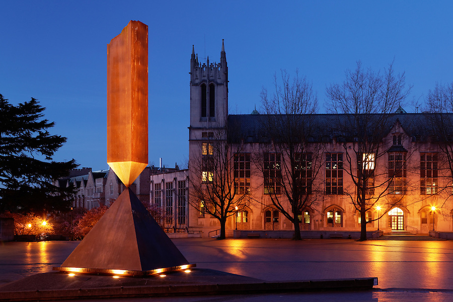 Gerberding Hall and broken obelisk in Red Square at twilight, University of Washington, Seattle, Washington, USA