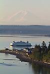 Puget Sound, Port Townsend, Mount Rainier, Washington State Ferry, sunrise, Olympic Peninsula, Washington State, Pacific Northwest, USA,