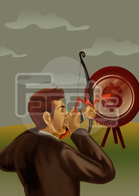 Illustrative image of businessman aiming bow and arrow at target