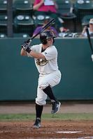 Visalia Rawhide shortstop Camden Duzenack (4) at bat during a California League game against the Stockton Ports at Visalia Recreation Ballpark on May 8, 2018 in Visalia, California. Stockton defeated Visalia 6-2. (Zachary Lucy/Four Seam Images)