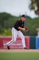 GCL Orioles shortstop Gunnar Henderson (9) during a Gulf Coast League game against the GCL Braves on August 5, 2019 at Ed Smith Stadium in Sarasota, Florida.  GCL Orioles defeated the GCL Braves 4-3 in the second game of a doubleheader.  (Mike Janes/Four Seam Images)