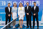 From left to right: Chalres Hsuing, president of APG, Steffi Graf of Germany, the global ambassador of Zhuhai WTA Elite Trophy 2017, Melissa Pine, tournament director of WTA Finals and vice-president of WTA Asia Pacific, Fabrice Chouquet, APG chief operating officer,  and Jose Miguel Garcia, Zhuhai WTA elite trophy tournament director pose for photo during the Steffi Graff tennis show at Zhuhai Tower on November 04, 2017 in Zhuhai, China. Photo by Yu Chun Christopher Wong / Power Sport Images