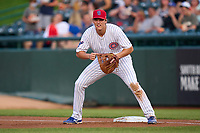 South Bend Cubs first baseman Bryce Ball (22) during a game against the Quad Cities River Bandits on August 20, 2021 at Four Winds Field in South Bend, Indiana.  (Mike Janes/Four Seam Images)