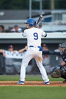 Jake Means (9) of the Burlington Royals at bat against the Danville Braves at Burlington Athletic Stadium on July 13, 2019 in Burlington, North Carolina. The Royals defeated the Braves 5-2. (Brian Westerholt/Four Seam Images)