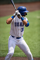 Duke Blue Devils catcher Michael Rothenberg (38) at bat against the Liberty Flames in NCAA Regional play on Robert M. Lindsay Field at Lindsey Nelson Stadium on June 4, 2021, in Knoxville, Tennessee. (Danny Parker/Four Seam Images)
