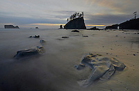 An incoming tide at sunset flows onto Second Beach through seastacks and rocks, Olympic National Park, Washington State.