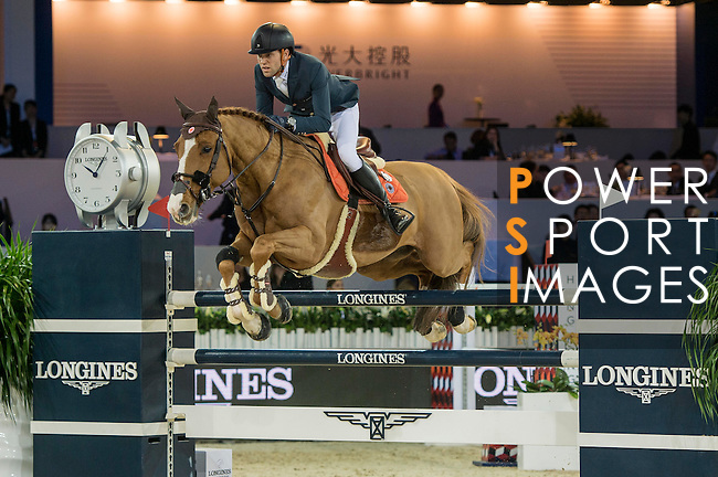 Simon Delestre of France riding Chesall Zimequest during the Hong Kong Jockey Club Trophy competition, part of the Longines Masters of Hong Kong on 10 February 2017 at the Asia World Expo in Hong Kong, China. Photo by Marcio Rodrigo Machado / Power Sport Images