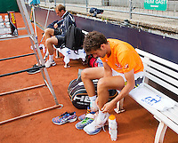 Austria, Kitzbuhel, Juli 14, 2015, Tennis, Davis Cup, Training Dutch team ready to practise, Thiemo de Bakker and Robin Haase (R)<br /> Photo: Tennisimages/Henk Koster