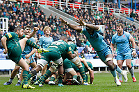 Tjiuee Uanivi of London Scottish tries to block during the Greene King IPA Championship match between London Irish Rugby Football Club  and London Scottish Football Club at the Madejski Stadium, Reading, England on 2 March 2019. Photo by Carlton Myrie.