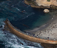 aerial photograph of seals at the Children's Pool Beach, La Jolla, San Diego, County, California