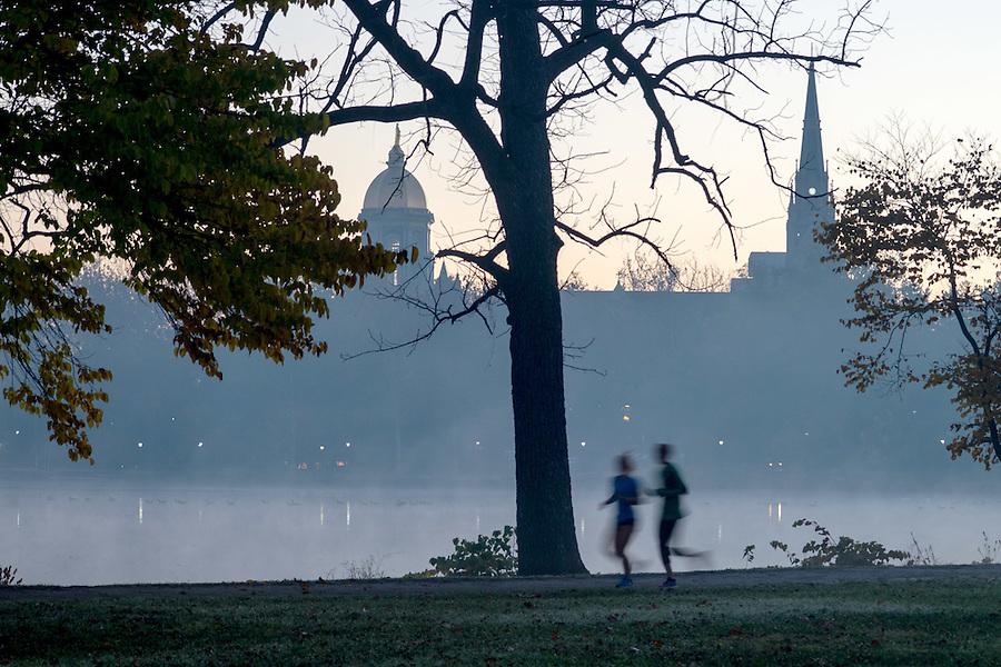 November 7, 2016; Joggers around St. Mary's Lake (Photo by Matt Cashore/University of Notre Dame)