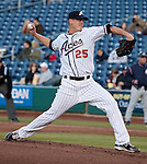 Reno Aces starting pitcher Chris Jakubauskas throws during their game agaisnt the Colorado Springs Sky Sox on Friday night, April 6, 2012 in Reno, Nevada.