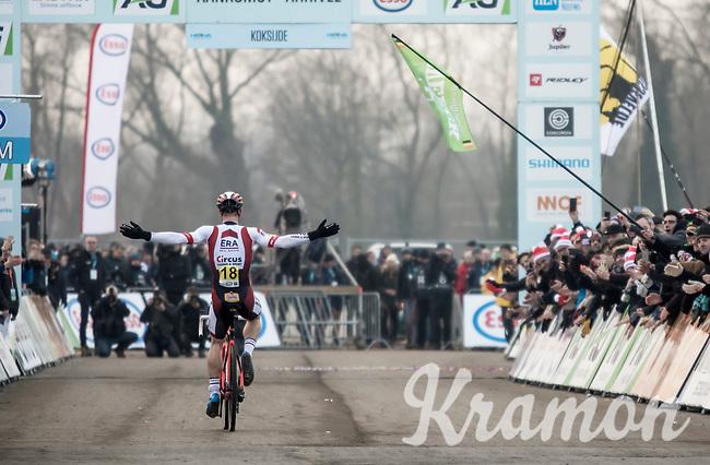 Laurens Sweeck (BEL/Era Circus) finishing 2nd.<br /> <br /> Men's Elite Race<br /> Belgian National Cyclocross Championships 2018 / Koksijde