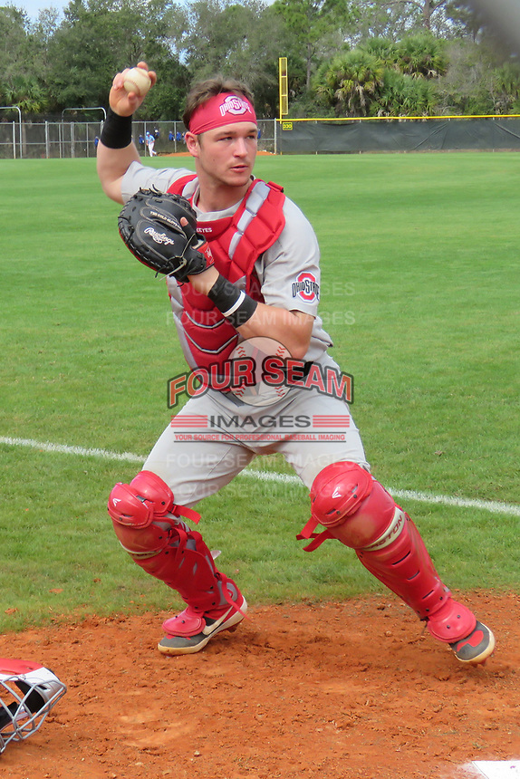 Ohio State catcher Dillon Dingler during warmups before a game against Indiana State on February 16, 2020 at North Charlotte Regional Park in Port Charlotte, Florida.  (Bryan Green/Four Seam Images)