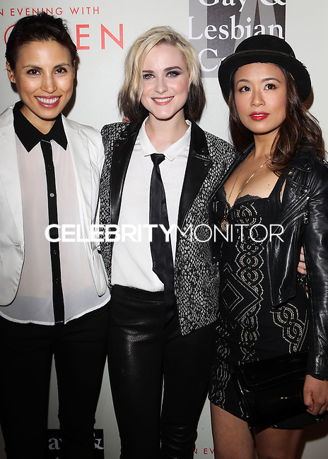 """BEVERLY HILLS, CA, USA - MAY 10: Chrysanthe Tan, Evan Rachel Wood, T.V. Carpio at the """"An Evening With Women"""" 2014 Benefiting L.A. Gay & Lesbian Center held at the Beverly Hilton Hotel on May 10, 2014 in Beverly Hills, California, United States. (Photo by Celebrity Monitor)"""