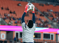 HOUSTON, TX - JUNE 13: Adrianna Franch #21 of the USWNT warms up before a game between Jamaica and USWNT at BBVA Stadium on June 13, 2021 in Houston, Texas.