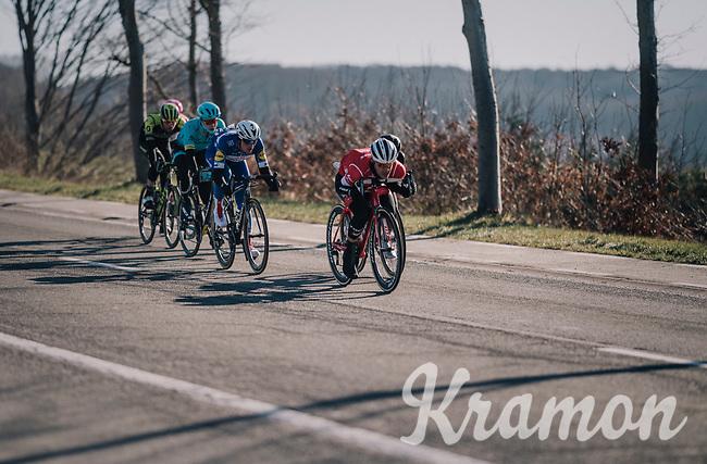 Jasper Stuyven (BEL/Trek-Segafredo) in a chasing group closing in on the race leaders<br /> <br /> 70th Kuurne-Brussel-Kuurne 2018<br /> Kuurne › Kuurne: 200km (BELGIUM)