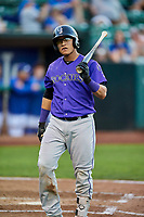 Javier Guevara (6) of the Grand Junction Rockies walks back to the dugout during a game against the Ogden Raptors at Lindquist Field on September 7, 2018 in Ogden, Utah. The Rockies defeated the Raptors 8-5. (Stephen Smith/Four Seam Images)