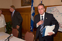 August 12,  2003, Montreal, Quebec, Canada<br /> <br /> Gerald Tremblay, Mayor of Montreal (L) and <br /> Claude Bechard, Quebec Minister of Work, Social Solidarity and Family (Emploi, SolidaritÈ Sociale et famille) (R)<br /> after an announcement about fighting poverty on the Montreal island, during a  press conference, august 12,  2003  in Montreal, CANADA<br /> <br /> <br /> Mandatory Credit: Photo by Pierre Roussel- Images Distribution. (©) Copyright 2003 by Pierre Roussel