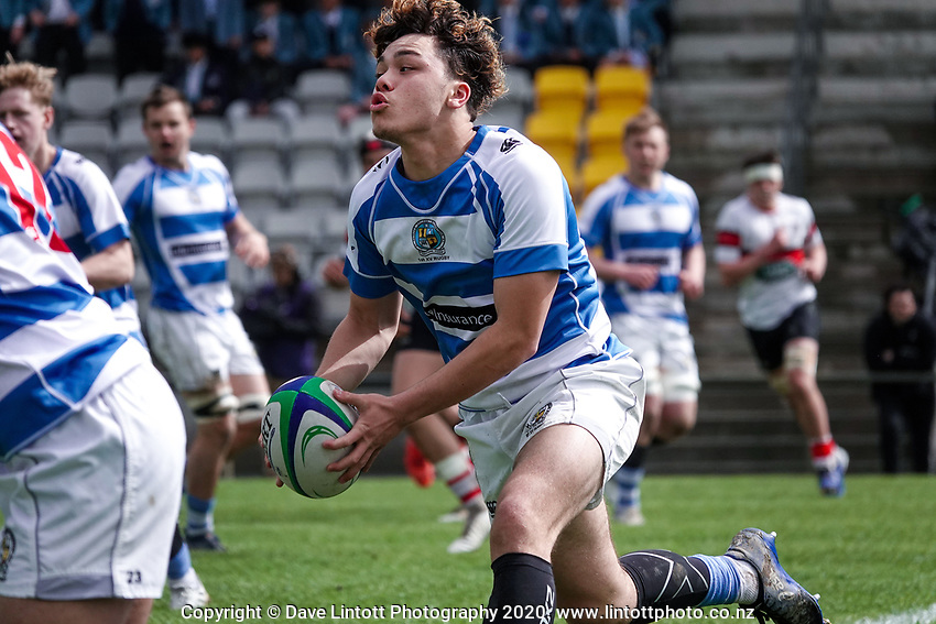 Action from the Wellington 1st XV secondary schools premier one rugby final between St Patrick's College Silverstream and Scots College at Porirua Park in Porirua, New Zealand on Sunday, 27 September 2020. Photo: Dave Lintott / lintottphoto.co.nz