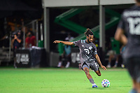 LAKE BUENA VISTA, FL - AUGUST 06: Raheem Edwards #44 of Minnesota United FC kicks the ball during a game between Orlando City SC and Minnesota United FC at ESPN Wide World of Sports on August 06, 2020 in Lake Buena Vista, Florida.
