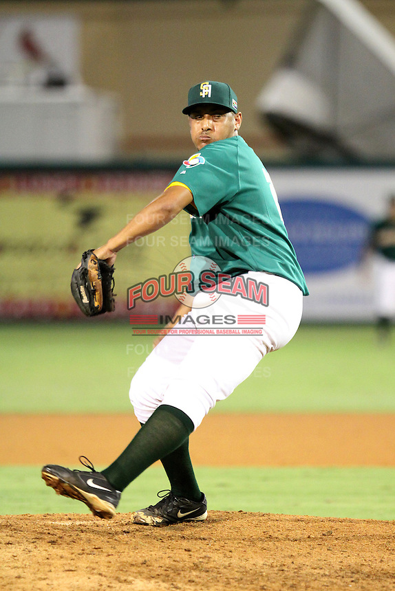 Carl Michaels #23 of Team South Africa pitches during a game against Team Israel at Roger Dean Stadium on September 19, 2012 in Jupiter, Florida. Team Israel defeated Team South Africa 7-3.  (Stacy Jo Grant/Four Seam Images).