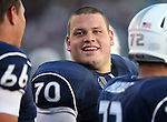 Nevada's Joel Bitonio talks on the sidelines during the first half of an NCAA football game against Air Force, in Reno, Nev., on Saturday, Sept. 28, 2013. <br /> Photo by Cathleen Allison