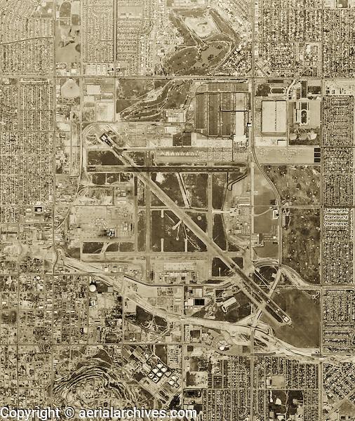 historical aerial photograph Long Beach airport, California, 1963