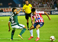 BARRANQUILLA - COLOMBIA, 06-03-2019: Luis Díaz de Atlético Junior (COL) disputa el balón con Marcos Rocha Palmeiras (BRA), durante partido entre Atlético Junior (COL) y Palmeiras (BRA) de la fase de grupos, grupo F, fecha 1, por la Copa Conmebol Libertadores 2019, jugado en el estadio Metropolitano Roberto Meléndez de la ciudad de Barranquilla. / Luis Diaz of Atletico Junior (COL) vies for the ball with Marcos Rocha of Palmeiras (BRA), during a match between Atletico Junior (COL) and Palmeiras (BRA) of the group stage, group F, 1st date for the Copa Conmebol Libertadores 2019 at the Metropolitano Roberto Melendez Stadium in Barranquilla city. Photo: VizzorImage  / Alfonso Cervantes / Cont.