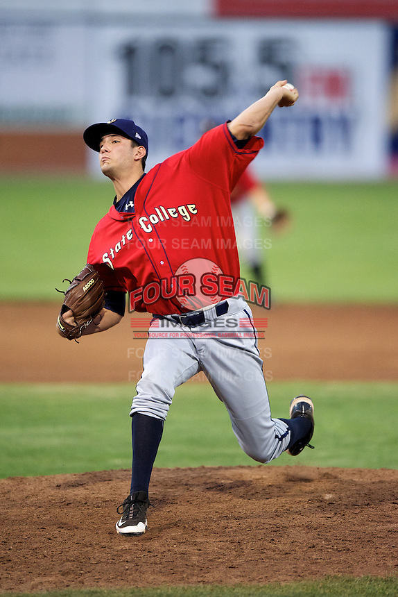 State College Spikes pitcher Thomas Harlan #43 during a game against the Batavia Muckdogs at Dwyer Stadium on August 8, 2012 in Batavia, New York.  Batavia defeated State College 6-3.  (Mike Janes/Four Seam Images)