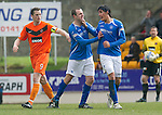 St Johnstone v Dundee Utd....21.04.12   SPL.Fran Sandaza kicks out at Dave Mackay after being sent off.Picture by Graeme Hart..Copyright Perthshire Picture Agency.Tel: 01738 623350  Mobile: 07990 594431
