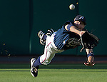 Reno Aces center fielder Tony Campana makes the diving catch in the first inning against the Tucson Padres during their game played on Monday, June 3, 2013 in Reno, Nevada.