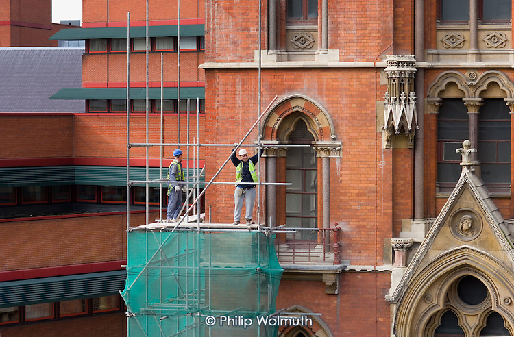 Building work on St.Pancras station in preparation for the opening of the new Channel Tunnel terminal.