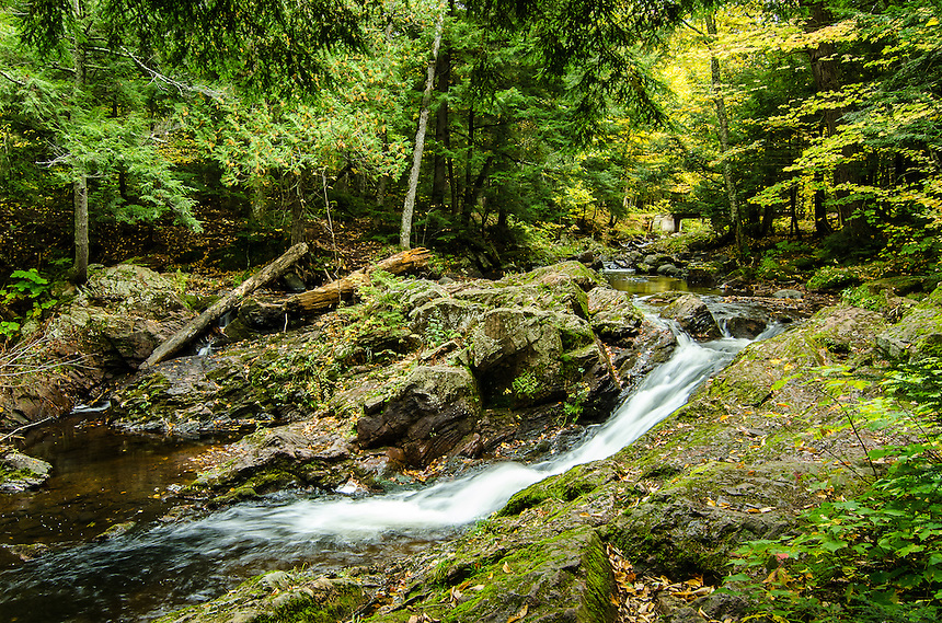 An autumn view of Overlooked Falls on the Little Carp River in the Porcupine Mountains.