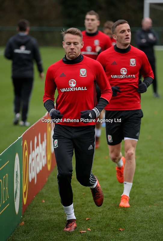 Chris Gunter in action during the Wales Training Session at The Vale Resort, Wales, UK. 06 November 2017