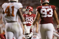 Arkansas Cam Little (29) kicks an extra point, Saturday, September 11, 2021 during the fourth quarter of a football game at Reynolds Razorback Stadium in Fayetteville. Check out nwaonline.com/210912Daily/ for today's photo gallery. <br /> (NWA Democrat-Gazette/Charlie Kaijo)