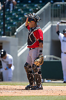 Indianapolis Indians catcher Tony Sanchez (26) on defense against the Charlotte Knights at BB&T BallPark on June 21, 2015 in Charlotte, North Carolina.  The Knights defeated the Indians 13-1.  (Brian Westerholt/Four Seam Images)