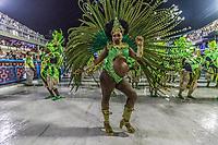Rio de Janeiro (RJ), 21/02/2020 CARNAVAL - RJ - DESFILE - Desfile das escolas de samba  Academicos do Cubango, da Serie A, nesta sexta-feira (21), no sambodromo, no centro do Rio de Janeiro (RJ). Passista desfila gravida. (Foto: Ellan Lustosa/Codigo 19/Codigo 19)