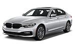 2018 BMW 5 Series 530e iPerformance 4 Door Sedan angular front stock photos of front three quarter view