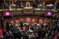 ThePresident of the Senate Maria Elisabetta Alberti Casellati arguing with senators due to problems during the trust vote at the Senate on the government crisis.<br /> Rome(Italy), January 19th 2021<br /> Photo Pool Roberto Monaldo/Insidefoto