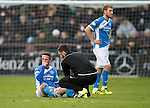 Hearts v St Johnstone…05.11.16  Tynecastle   SPFL<br />Chris Millar gets treatment from physio Tony Tompos<br />Picture by Graeme Hart.<br />Copyright Perthshire Picture Agency<br />Tel: 01738 623350  Mobile: 07990 594431