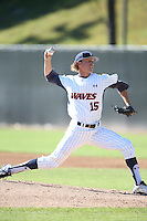 A.J. Puckett #15 of the Pepperdine Waves pitches during a game against the Tulane Green Wave at Eddy D. Field Stadium on March 13, 2015 in Malibu, California. Tulane defeated Pepperdine, 9-3. (Larry Goren/Four Seam Images)