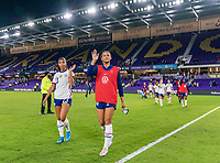 ORLANDO, FL - JANUARY 22: Margaret Purce #23 and Lynn Williams #6 of the USWNT wave to the crowd after a game between Colombia and USWNT at Exploria stadium on January 22, 2021 in Orlando, Florida.