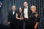 © Joel Goodman - 07973 332324 . 05/03/2015 .  Midland Hotel , Manchester , UK . L-R Eamonn O'Neill , winner Sally Harrison QC of St John's Buildings , sponsor ( Metronet ( UK ) ) and Louise Straw . Barrister of the Year . The Manchester Legal Awards 2015 . Photo credit : Joel Goodman